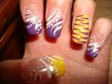 purple white yellow
