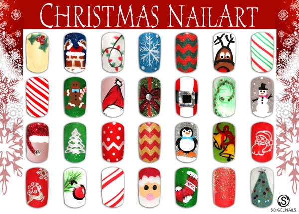 Multiple Christmas Nail Art Designs