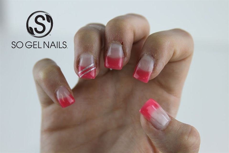 Pink French Tips with Silver Tape - Nail Art Gallery