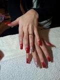 clear gel,red polish/glitter