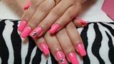 Neon pink gel nails