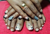 Black French nails with beautiful stamp