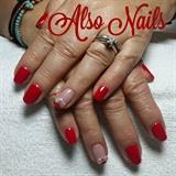 red gel polish nails
