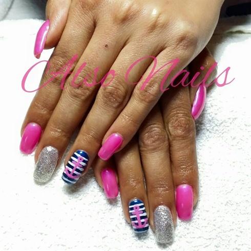 Pink, blue & glitter gel nails