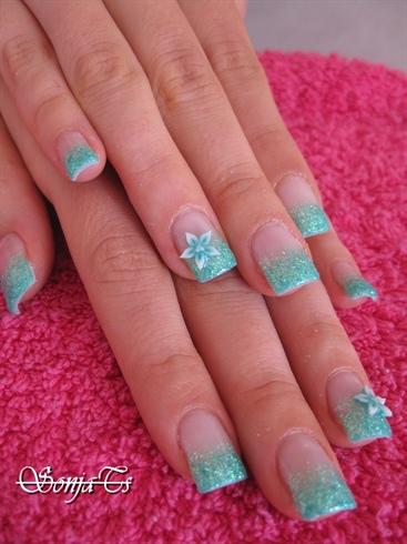 Light Blue Acrylic Nails Medium