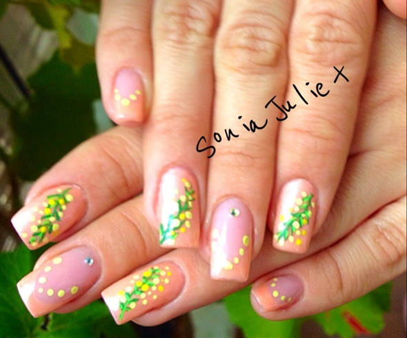 Mimosa Nails Peach Colour Nail Art Gallery