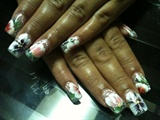 Flowers on Clear Glitter