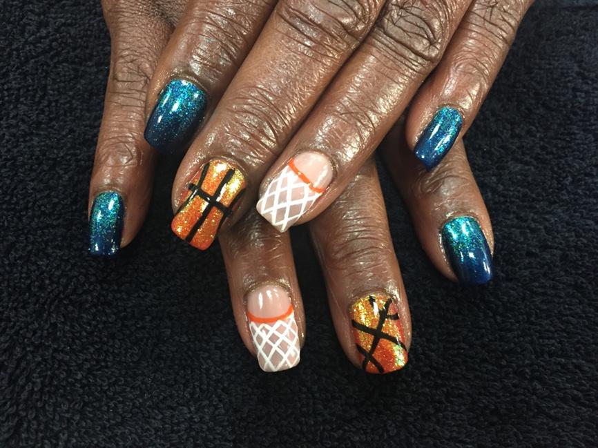 - Thunder Basketball Nails - Nail Art Gallery