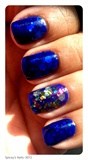 Blue Jelly/Glitter Nails
