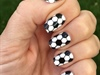 Black & White Hexagon Soccer Nails