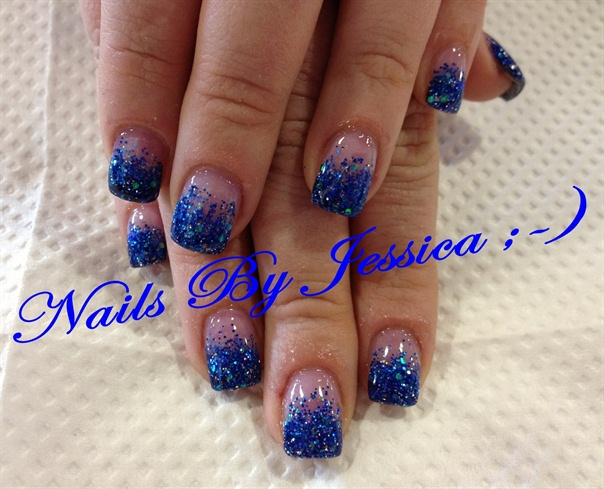 Blue Glitter Acrylic Fade