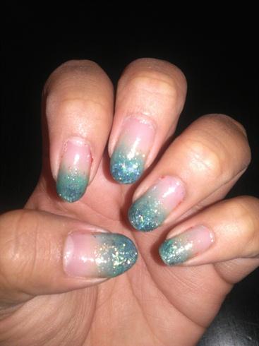 sea green ombre tips  nail art gallery