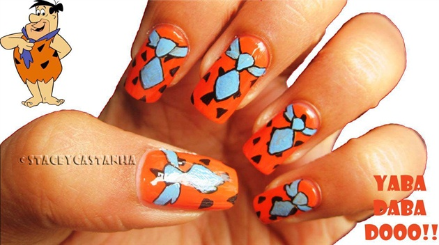 Flintstones Inspired nail design
