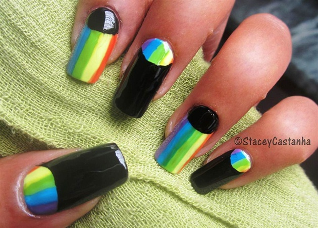Half moon and rainbow manicure