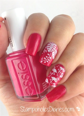 "Essie ""Watermelon"" and Flamingo Design"