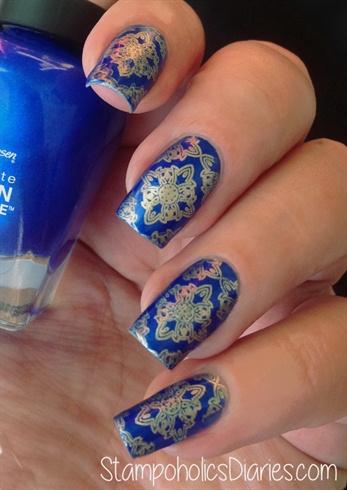 Sally Hansen Batbano Blue & Stamping