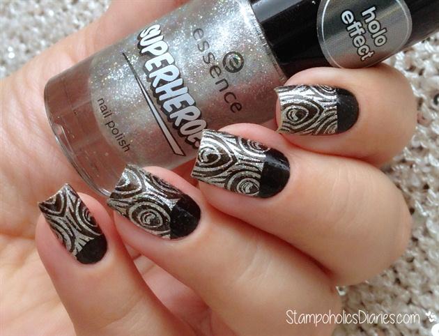 Silver Peacock Nails
