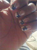 WHITE FRENCH TIP W/ BLUE FLOWERS