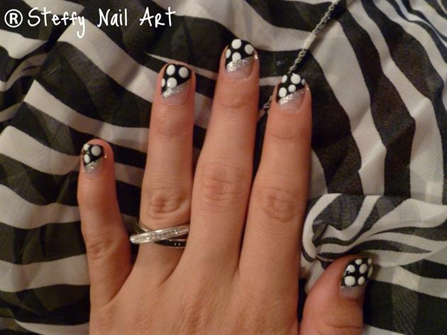 Black & White Polka Dots w/ Silver