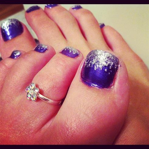 Purple Silver Gradient Toes Nail Art Gallery