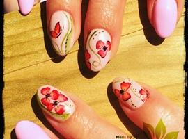 nail art: Håndmalede Blomster🌸💖