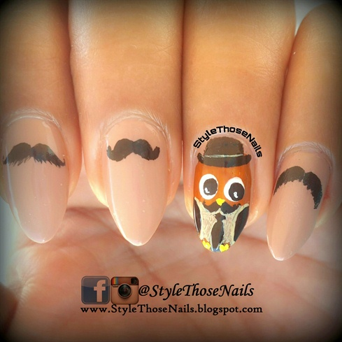 Movember- Owl Nails