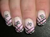 Fimo butterflies,pink gems, hand sponged