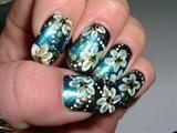 white/gold flowers on Blue/black