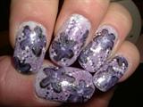 purple flowers on sponged faded backgrou
