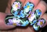 Pink/Blue flowers on metallic black