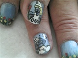 Mum's Smurf nails - close-up