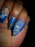 blue floral matte