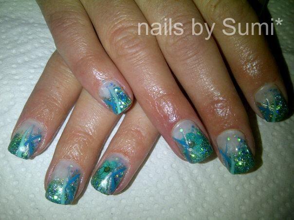 green/ blue glitter french*