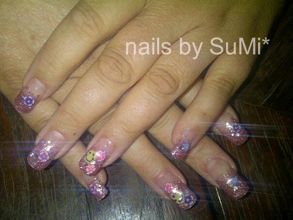 pink glitter french with fimo canes: