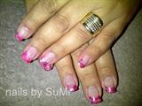 pink,silver & orange gel marble tip