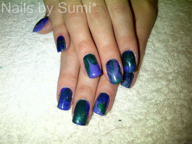 Emerald green & blue watermarble