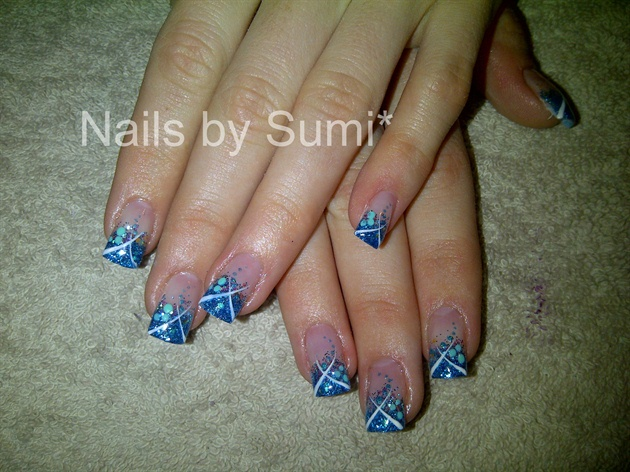 Blue glitter french*