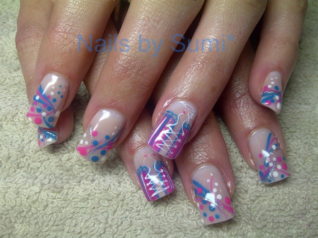 Funky*blue & pink Dots & stripes...