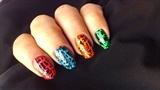 Crackle Nails on Neon Colors