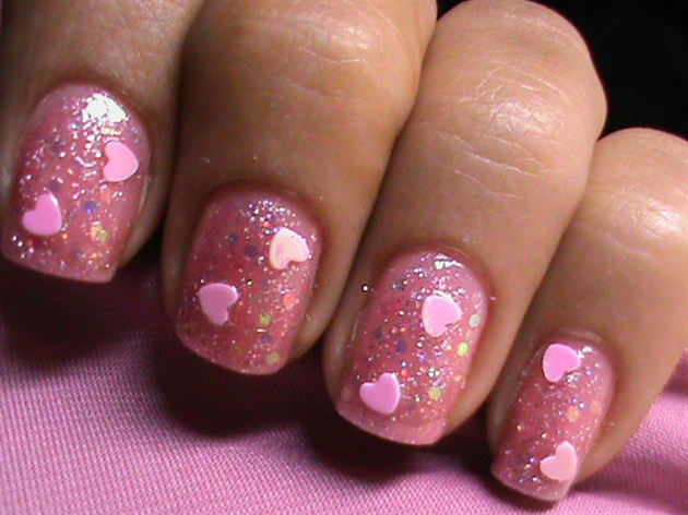 Glitter Pink Hearts Nail Polish Designs