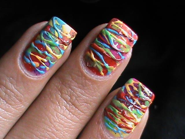 Spun sugar nails Colorful technique -- h - Nail Art Gallery