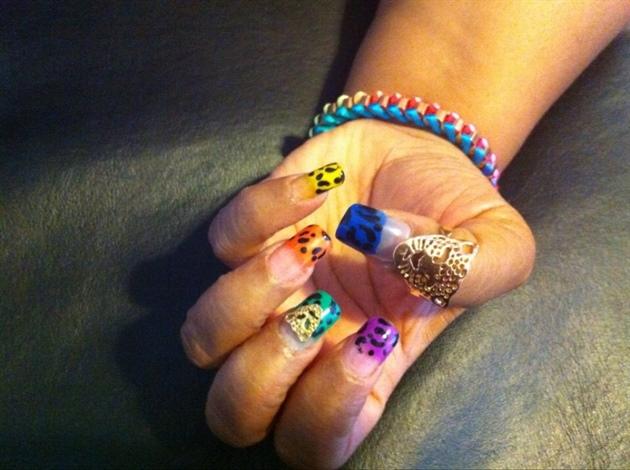 Acrylic Powder Leopard Nails