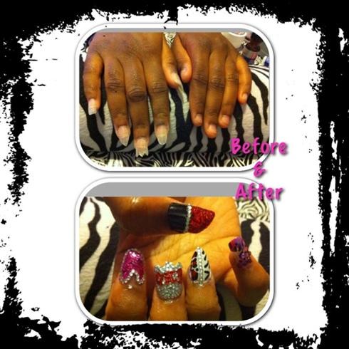 Lipstick Crown Leopard Nails