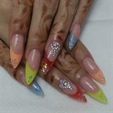 Multi Colors Nail Art
