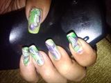 green n purple water marble
