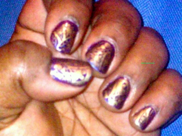 Gold on Purple nail art stamp
