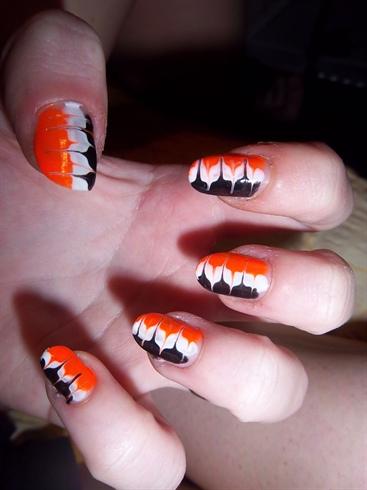 Black, white and neon orange