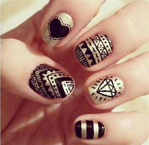 Black And Gold Nail Art Gallery