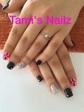 Gel nails black pink silver