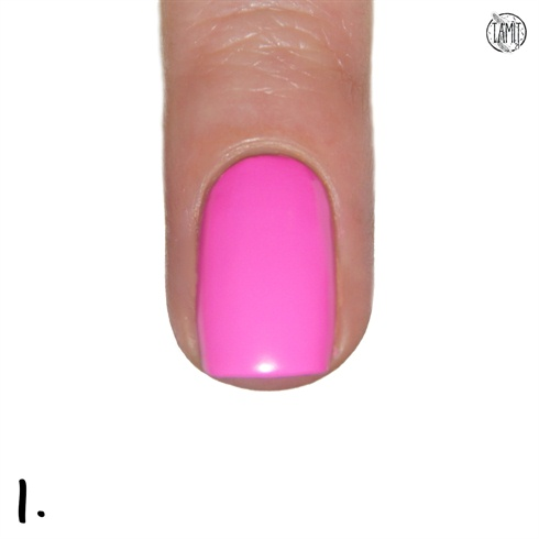 Polish your nails with Orly Fancy Fuchsia. Wai until it's dried.
